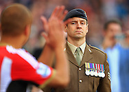 A soldier watches on as the teams emerge - Sunderland vs. Everton - Barclay's Premier League - Stadium of Light - Sunderland - 09/11/2014 Pic Philip Oldham/Sportimage