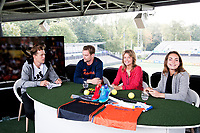 AMSTELVEEN - Opname Studio Shoot van Hockey.nl , bij de Rabo Eurohockey Championships 2017. Mirco Pruyser, Sophie Polkamp en Eva de Goede.  Presentatie Jeroen Mansier.  COPYRIGHT KOEN SUYK