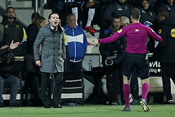 (L-R) coach Stijn Vreven of NAC Breda, referee Pol van Boekel during the Dutch Eredivisie match between Heracles Almelo and NAC Breda at Polman stadium on November 26, 2017 in Almelo, The Netherlands