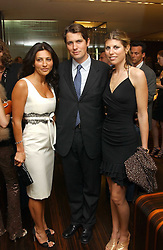 Left to right, ELLA KRASNER, SALVATORE FERRAGAMO and VIVIA FERRAGAMO at a party to celebrate the publication of 'The Russian House' by Ella Krasner held at De Beers, 50 Old Bond Street, London W1 on 9th June 2005.<br /><br />NON EXCLUSIVE - WORLD RIGHTS