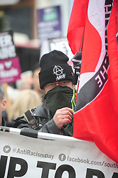 © Licensed to London News Pictures.04/11/2017.<br /> BROMLEY, UK.<br /> ANTI BRITAIN FIRST PROTESTER.<br /> Britain First hold a Persecuted Patriots Rally outside Bromley Police Station, Bromley South.Party Leader Paul Golding and his deputy Jayda Fransen have to sign on bail every Saturday 2pm at Bromley Police station.<br /> Photo credit: Grant Falvey/LNP