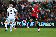 Zlatan Ibrahimovic of Manchester Utd (r) in action. Premier league match, Swansea city v Manchester Utd at the Liberty Stadium in Swansea, South Wales on Sunday 6th November 2016.<br /> pic by  Andrew Orchard, Andrew Orchard sports photography.