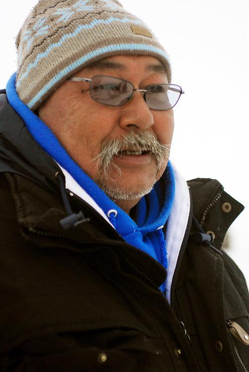 Alaska, Barrow. April 2007. Spring whaling. Aalak Crew (Eugene Brower Crew) on the ice. Crewmember Charlie Brower.