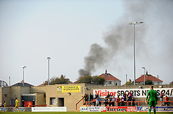 Something's burning .... - Mandatory byline: Neil Brookman/JMP - 07966 386802 - 03/10/2015 - FOOTBALL - Globe Arena - Morecambe, England - Morecambe FC v Bristol Rovers - Sky Bet League Two