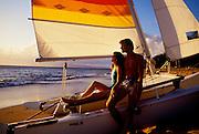 Couple on Catamaran sailboat, Kaanapali, Maui, Hawaii