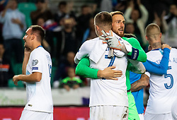 Josip Iličić of Slovenia and Jan Oblak of Slovenia celebrate after  the 2020 UEFA European Championships group G qualifying match between Slovenia and Poland at SRC Stozice on September 6, 2019 in Ljubljana, Slovenia. Photo by Vid Ponikvar / Sportida