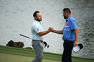 Tyrrell Hatton (ENG) and Marc Leishman (AUS) on the 18th during the final round of the Arnold Palmer Invitational presented by Mastercard, Bay Hill, Orlando, Florida, USA. 08/03/2020.<br /> Picture: Golffile   Scott Halleran<br /> <br /> <br /> All photo usage must carry mandatory copyright credit (© Golffile   Scott Halleran)
