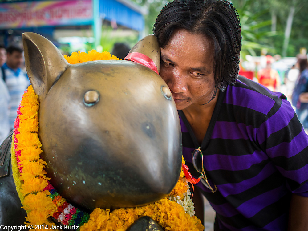 31 AUGUST 2014 - SARIKA, NAKHON NAYOK, THAILAND:  A man whispers a prayer into the ear of a mouse during the Ganesh Festival at Shri Utthayan Ganesha Temple in Sarika, Nakhon Nayok. In Hindu traditions, the mouse carries the prayer to God. Ganesh Chaturthi, also known as Vinayaka Chaturthi, is a Hindu festival dedicated to Lord Ganesh. It is a 10-day festival marking the birthday of Ganesh, who is widely worshiped for his auspicious beginnings. Ganesh is the patron of arts and sciences, the deity of intellect and wisdom -- identified by his elephant head. The holiday is celebrated for 10 days, in 2014, most Hindu temples will submerge their Ganesh shrines and deities on September 7. Wat Utthaya Ganesh in Nakhon Nayok province, is a Buddhist temple that venerates Ganesh, who is popular with Thai Buddhists. The temple draws both Buddhists and Hindus and celebrates the Ganesh holiday a week ahead of most other places.   PHOTO BY JACK KURTZ
