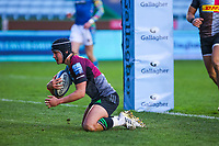 Rugby Union - 2020 / 2021 Gallagher Premiership - Round Nine - Harlequins vs Leicester Tigers - The Stoop<br /> <br /> Marcus Smith, of Harlequins, scores his try<br /> <br /> <br /> <br /> COLORSPORT/DANIEL BEARHAM