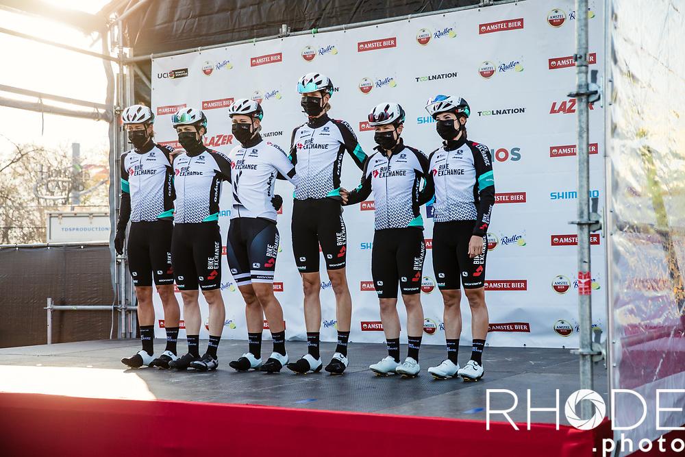 Team BikeExchange at the pre race team presentaion<br /> <br /> 7th Amstel Gold Race Ladies Edition <br /> Valkenburg > Valkenburg 116km<br /> <br /> ©RhodePhoto