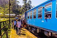 Idalgashinna train station, Train trip through the scenic mountains featuring many tea plantations between Nuwara Eliya (Nanu Oya) to Ella, Sri Lanka.