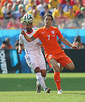Jean Beausejour of Chile and Daryl Janmaat of Netherlands