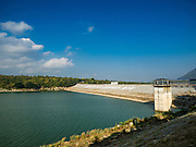 21 JANUARY 2016 - KHLONG PHAI, NAKHON RATCHASIMA, THAILAND: Lam Takhong Dam in Nakhon Ratchasima province. The dam is only 30 percent of its capacity and farmers downstream have been told they can't draw irrigation water from the dam.  The drought gripping Thailand was not broken during the rainy season. Because of the Pacific El Nino weather pattern, the rainy season was lighter than usual and many communities in Thailand, especially in northeastern and central Thailand, are still in drought like conditions. Some communities, like Si Liam, in Buri Ram, are running out of water for domestic consumption and residents are traveling miles every day to get water or they buy to from water trucks that occasionally come to the community. The Thai government has told farmers that can't plant a second rice crop (Thai farmers usually get two rice crops a year from their paddies). The government is also considering diverting water from the Mekong and Salaween Rivers, on Thailand's borders to meet domestic needs but Thailand's downstream neighbors object to that because it could leave them short of water.     PHOTO BY JACK KURTZ