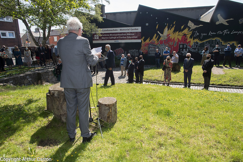 NO FEE PICTURES<br /> Dublin, 28 May 2021       Marking the 80th Anniversary of the bombing of North Strand and remembering the 28 people who lost their lives in 1941 at a wreath laying ceremony, organised by the North Strand Bombing Commemoration Committee, at Marino College, North Strand Street were:  Lord Mayor of Dublin Hazel Chu, Her Excellency Deike Potzel, German Ambassador to Ireland, Gladys Langan, witness to the bombing and May Dunne, witness to the bombing. Photographs: Arthur Carron