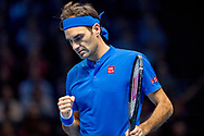 Roger Federer of Switzerland celebrates  during the Nitto ATP World Tour Finals at the O2 Arena, London, United Kingdom on 13 November 2018.Photo by Martin Cole