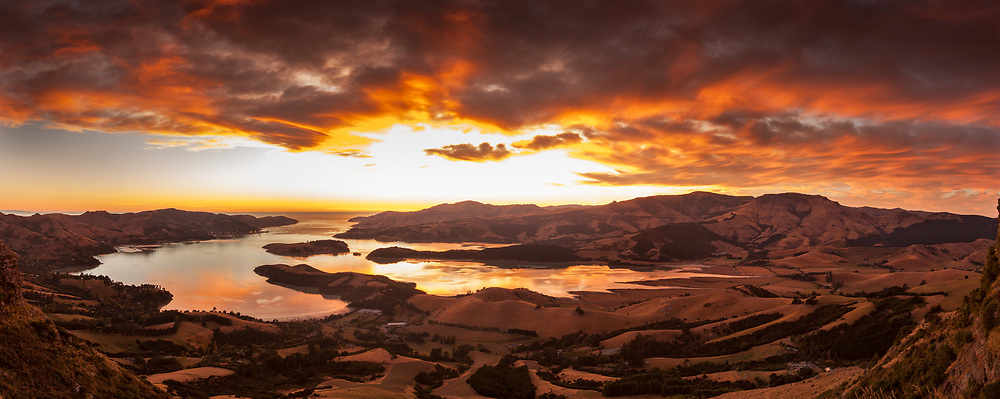 Lyttelton harbour dawn panorama from Port hills, Christchurch, Canterbury