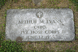 31 August 2017:   Veterans graves in Park Hill Cemetery in eastern McLean County.<br /> <br /> Arthur M Evans Ohio Private Hosp Corps  June 12 1939