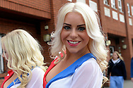 Crystal Palace 'Crystals' cheerleader Grace Marguet poses for a photo outside Selhurst Park before k/o. Barclays Premier League match, Crystal Palace v West Bromwich Albion at Selhurst Park in London on Saturday 3rd October 2015.<br /> pic by John Patrick Fletcher, Andrew Orchard sports photography.