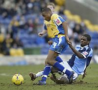 Photo: Aidan Ellis.<br /> Mansfield Town v Wycombe Wanderers. Coca Cola League 2. 24/02/2007.<br /> Wycombe's Matt Bloomfield (R) challenges Mansfield's Johnathon D'lareya