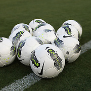Nike soccer balls rest on the field prior to an international friendly soccer match between Scotland and the United States at EverBank Field on Saturday, May 26, 2012 in Jacksonville, Florida.  The United States won the match 5-1 in front of 44,000 fans. (AP Photo/Alex Menendez)