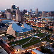 Aerial view of downtown Kansas City, Missouri skyline. Kauffman Center For The Performing Arts in foreground.
