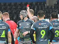 Rugby Union - 2019 / 2020 European Rugby Heineken Champions Cup - Pool Four: Ospreys vs. Saracens<br /> <br /> Rhys Carre of Saracens leaves the field after receiving a red card , at the Liberty Stadium.<br /> <br /> COLORSPORT/WINSTON BYNORTH