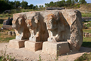 Statues of bulls and Eflatun Pınar ( Eflatunpınar) Ancient Hittite relief sculpture monument and sacred pool, and its Hittite relief scultures of Hittite gods.  Between 15th to 13th centuries BC. Lake Beysehir National Park, Konya, Turkey. .<br /> <br /> If you prefer to buy from our ALAMY PHOTO LIBRARY  Collection visit : https://www.alamy.com/portfolio/paul-williams-funkystock/eflatunpinar-turkey.html<br /> <br /> Visit our TURKEY PHOTO COLLECTIONS for more photos to download or buy as wall art prints https://funkystock.photoshelter.com/gallery-collection/3f-Pictures-of-Turkey-Turkey-Photos-Images-Fotos/C0000U.hJWkZxAbg