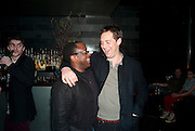 LUCIAN MSAMATI; STEPHEN CAMPBELL MOORE, Clybourne Park Press night. Opened at Wyndham's Theatre. Party afterwards at Mint Leaf, Haymarket, London. 8 February 2011.  -DO NOT ARCHIVE-© Copyright Photograph by Dafydd Jones. 248 Clapham Rd. London SW9 0PZ. Tel 0207 820 0771. www.dafjones.com.