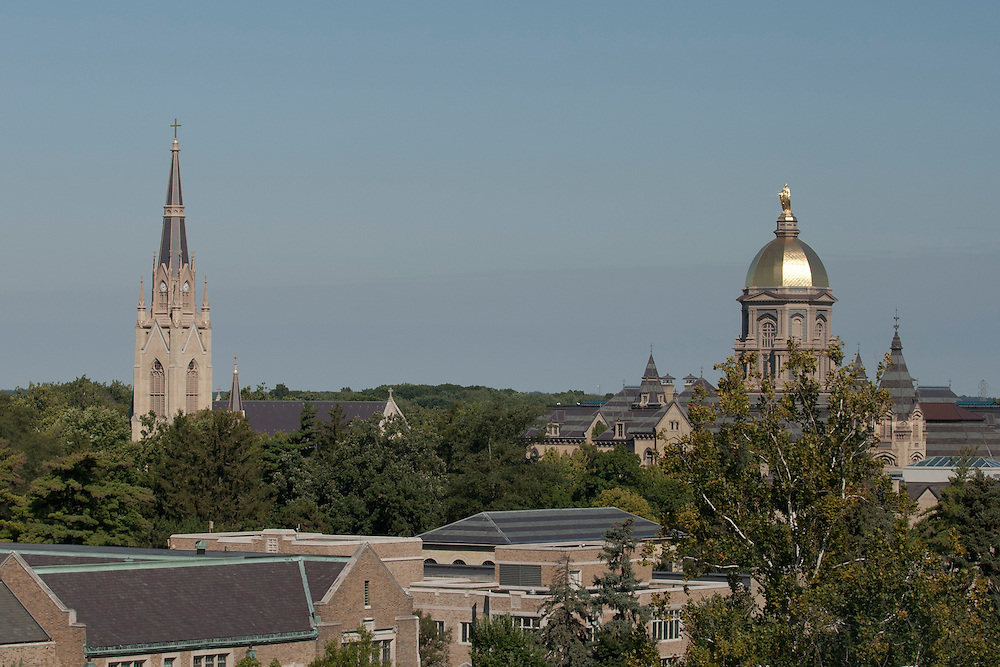A view from the press box of Sacred Heart Church and the Administration Building with the Golden Dome during NCAA football game between Notre Dame and Michigan State.  The Notre Dame Fighting Irish defeated the Michigan State Spartans 31-13 in game at Notre Dame Stadium in South Bend, Indiana.