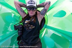 Savannah Rose at the Sportster Showdown Bike Show presented by Led Sled and Biltwell at the Buffalo Chip during the 78th annual Sturgis Motorcycle Rally. Sturgis, SD. USA. Tuesday August 7, 2018. Photography ©2018 Michael Lichter.