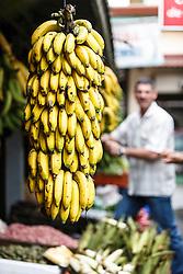 Fresh bananas in market, San Ramon, Alajuela, Costa Rica, Costa Rica.Costa Rica.