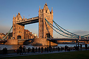 Tower Bridge in evening light. One of London's most famous landmarks, seen here in golden winter evening sun.
