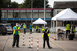© Licensed to London News Pictures . 16/09/2020. Bolton , UK . Testing site on the Bolton Outdoor Market site in Bolton Town Centre . The number of recorded cases of Coronavirus has gone over 200 in a single day , in Bolton . Photo credit : Joel Goodman/LNP
