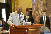 6/28/2020 Jackson MS. <br /> Senator Jordan address the House before the historic vote to remove the Confederate Flag. He spoke of what a historic time this is for Mississippi and how he hope this is just the beginning of change to come to Mississippi. HB 1796 cleared the House and Senate clearing the way to remove the Confederate flag as the state flag for the State of Mississippi.   The Mississippi State legislators gathered at the State Capitol Sunday for a historic vote on HB1796. The MS House of Representatives  passed the Bill 91-23 and the MS Senate voted 31-14 in favor of changing the flag. The Bill would allow for the redesign of the Mississippi State Flag, the current flag has the Confederate symbol on it. Mississippi is the last State in the Nation to still have the racist Confederate symbol on its state flag. Black Lives Matter advocates celebrated the historic vote outside the Capitol. The Mississippi House of Representatives passed the Bill and so did the Mississippi Senate, Governor Tate Reeves said he would sign it if it passed. Photo © Suzi Altman