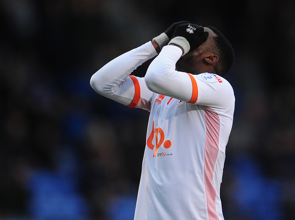 Blackpool's Viv Solomon-Otabor shows his frustration after missing a chance to score<br /> <br /> Photographer Kevin Barnes/CameraSport<br /> <br /> The EFL Sky Bet League One - Shrewsbury Town v Blackpool - Saturday 16th December 2017 - New Meadow - Shrewsbury<br /> <br /> World Copyright © 2017 CameraSport. All rights reserved. 43 Linden Ave. Countesthorpe. Leicester. England. LE8 5PG - Tel: +44 (0) 116 277 4147 - admin@camerasport.com - www.camerasport.com