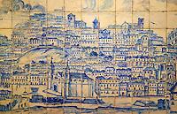 Portugal, Lisbonne, Musée National de l'Azulejo, azulejo ancien, representation de Lisbonne // Portugal, Lisbon, National Museum of Azulejo, cityscape of Lisbon
