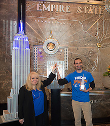 October 3, 2016 - New York, New York, USA - CEO and founder STOMPOutBullying, ROSS ELLIS, left and Hamilton's JAVIER MUNOZ, right, light the Empire State Building for STOMPOutBullying, Monday, October 3, 2016. (Credit Image: © Bryan Smith via ZUMA Wire)