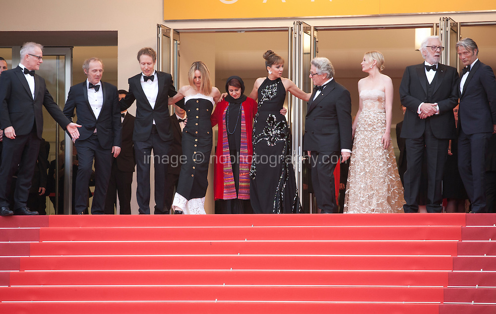 Members of the jury on the red steps at the Closing Palm D'Or Awards Ceremony at the 69th Cannes Film Festival, Sunday 22nd May 2016, Cannes, France. Photography: Doreen Kennedy