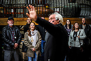 30166675A VERSAILLES, Ky. - Nov. 7, 2014 - Visitors listen in as Woodford Reserve tour guide Terry Burns begins a full tour at the Woodford Reserve Distilleries. <br /> <br /> William DeShazer for the New York Times
