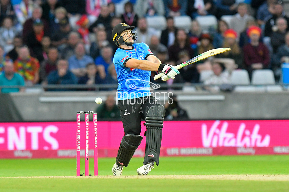 Luke Wright of Sussex plays and misses during the final of the Vitality T20 Finals Day 2018 match between Worcestershire Rapids and Sussex Sharks at Edgbaston, Birmingham, United Kingdom on 15 September 2018.
