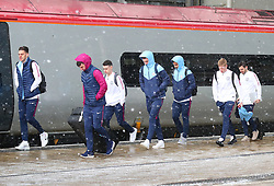 Ederson, Aymeric Laporte, Phil Foden, Ilkay Gundogan, Kevin DeBruyne and Bernardo Silva and The Manchester City team are seen at Manchester Piccadilly Train Station on Thursday morning as they make their trip to London to face Arsenal in the premier league