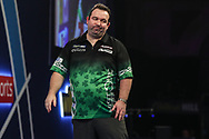 Brendan Dolan wins his fourth round match against Benito van de Pas and celebrates during the World Darts Championships 2018 at Alexandra Palace, London, United Kingdom on 28 December 2018.