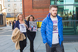"DATE CORRECTION - IMAGES SHOT TODAY © Licensed to London News Pictures. 07/02/2018. Liverpool, UK. Tom Evans, father of Alfie Evans arrives with supporters at Liverpool Civil & Family Court this morning. Tom Evans and Kate James from Liverpool are in dispute with medics looking after their son 19-month-old son Alfie Evans, at Alder Hey Children's Hospital in Liverpool. Alfie is in a ""semi-vegetative state"" and had a degenerative neurological condition doctors have not definitively diagnosed. Specialists at Alder Hey say continuing life-support treatment is not in Alfie's best interests but the boy's parents want permission to fly their son to a hospital in Rome for possible diagnosis and treatment. Photo credit: Andrew McCaren/LNP"