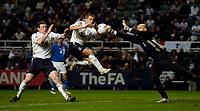 Photo. Jed Wee, Digitalsport<br /> England v Azerbaijan, World Cup Qualifier, 30/03/2005.<br /> Azerbaijan goalkeeper Dmitry Kramarenko (R) does well again to deny England's Michael Owen (C) and Wayne Rooney.