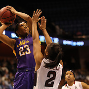 Jada Payne, East Carolina, shoots over Feyonda Fitzgerald, Temple, during the Temple Vs East Carolina Quarterfinal Basketball game during the American Athletics Conference Women's College Basketball Championships 2015 at Mohegan Sun Arena, Uncasville, Connecticut, USA. 7th March 2015. Photo Tim Clayton