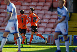 Dundee United's Lawrence Shankland cele scoring their third goal and his hat trick. Dundee United 6 v 0 Morton, Scottish Championship game played 28/9/2019 at Dundee United's stadium Tannadice Park.