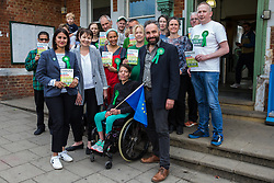London, UK. 22 May, 2019. Caroline Lucas, Green Party MP for Brighton Pavilion, campaigns for the European elections in Gipsy Hill, Lambeth, with Scott Ainslie and Gulnar Hasnain who top the Green Party list in London. After Gibraltar, Lambeth is the most pro-Remain area of the UK with 78.6% having voted Remain in 2016. There was a large swing to the Green Party in Gipsy Hill, historically a safe Labour seat, in May 2018 when Pete Elliott (r) was elected as a Green councillor.