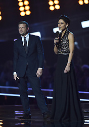 Dermot O'Leary and Emma Willis on stage at the BRIT Awards 2017, held at The O2 Arena, in London.<br /><br />Picture date Tuesday February 22, 2017. Picture credit should read Matt Crossick/ EMPICS Entertainment. Editorial Use Only - No Merchandise.