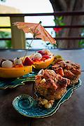 Papaya and bread pudding breakfast, Waipio Rim B&B, Waipio Valley, Hamakua Coast, Big Island of Hawaii