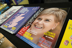 Edinburgh, Scotland, UK. 27 April, 2019. SNP ( Scottish National Party) Spring Conference takes place at the EICC ( Edinburgh International Conference Centre) in Edinburgh. Pictured; Pro independence magazines featuring First Minister Nicola Sturgeon on display at SNP magazine stall